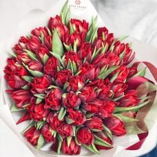 Букет голландских тюльпанов Ду Ред Принцесс