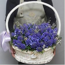 Синие гиацинты в корзине (размер L)