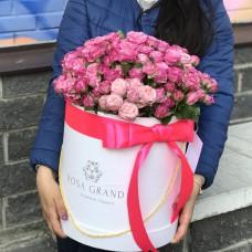 Букет роз Леди Бомбастик в шляпной коробке M/L