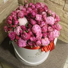 Пионовидные розы и пионы в цилиндре M/L