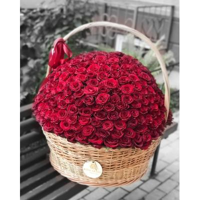 Корзина с красными розами размера XXL (до 301 розы)