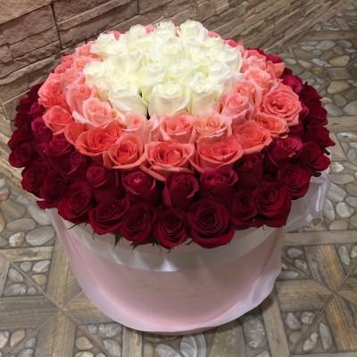Розы в стиле омбре в цилиндре (XL) от 101 розы