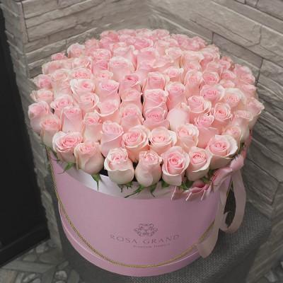 Розовые розы в коробке (XL) от 101 розы