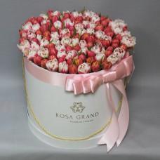Тюльпаны пионовидные в шляпной коробке (L) до 149 шт.