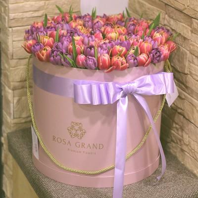 Тюльпаны пионовидные в цилиндре (L) до 149 шт.
