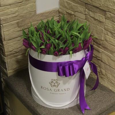 Фиолетовый тюльпаны в шляпной коробке (M) до 99 шт.
