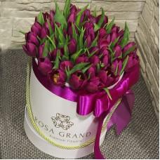 Фиолетовые тюльпаны в шляпной коробке S до 69 шт.